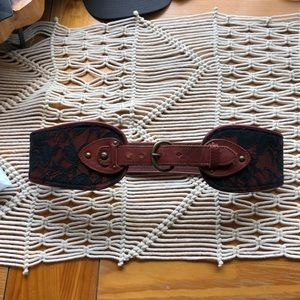 Anthropologie Black Lace and Leather Belt